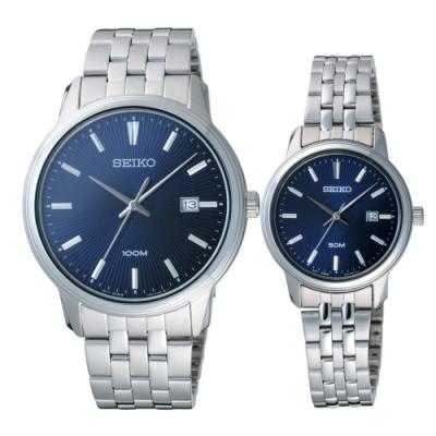 SEIKO 光芒四射時尚對錶-銀X藍(SUR259P1_SUR665P1)41mm+30mm
