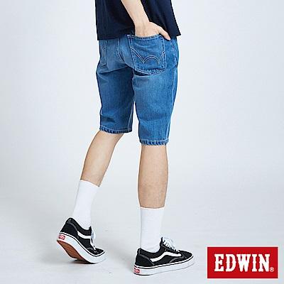 EDWIN 503基本復古牛仔短褲-男-石洗藍