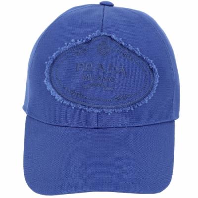 PRADA 品牌家徽不修邊設計帆布棒球帽(藍色)