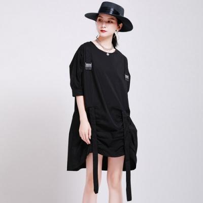 時尚個性抽繩設計寬鬆連衣洋裝M-L(共二色)-CLORI