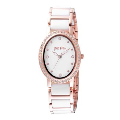 Folli Follie 復古晶緻陶瓷腕錶-玫瑰金X白(WF18B046BSW-XX)