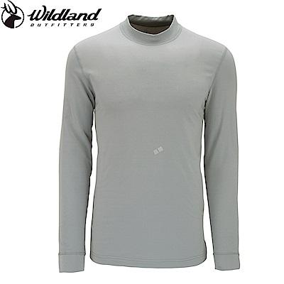 【Wildland 荒野】男遠紅外線彈性保暖衣淺灰
