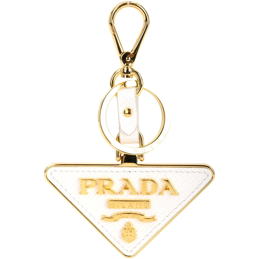 PRADA Saffiano Toys 三角徽標金字防刮牛皮鑰匙圈(白色)