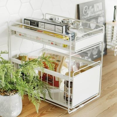 (時時樂限定) 完美主義 大款二用廚衛雙抽收納架/瓶罐架/碗盤架(2色)