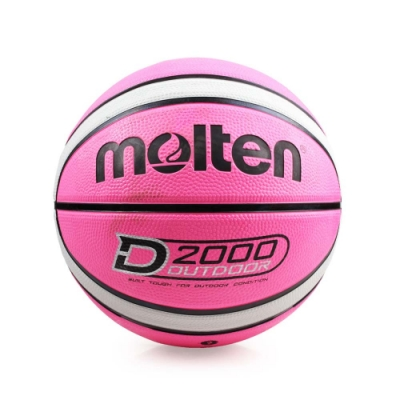 MOLTEN 12片橡膠深溝籃球 Molten 粉紅灰
