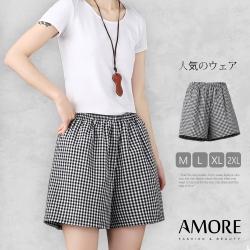 【Amore女裝】夏日百搭棉麻經典格紋寬鬆短褲