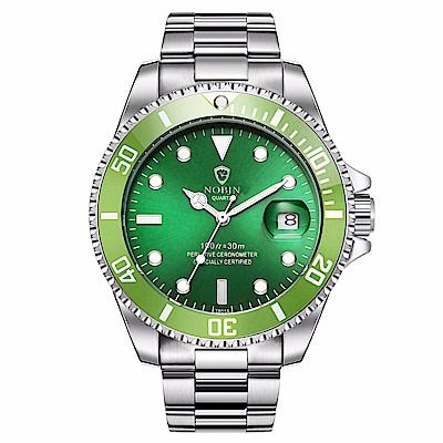 Mirabelle 至尊夜光 自動機械不鏽鋼男錶 銀帶全綠面43mm