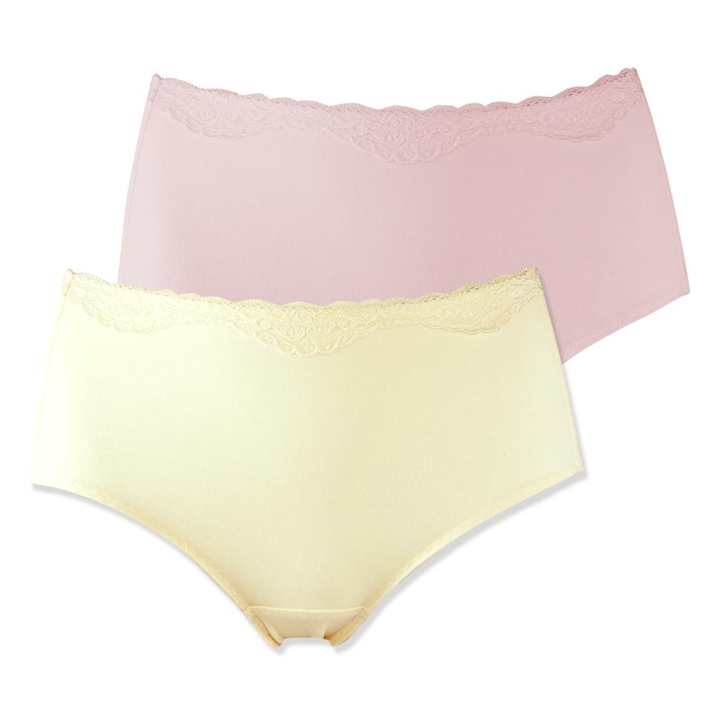 蕾黛絲-抑菌紗高腰褲兩件包 M-EQ 膚+粉