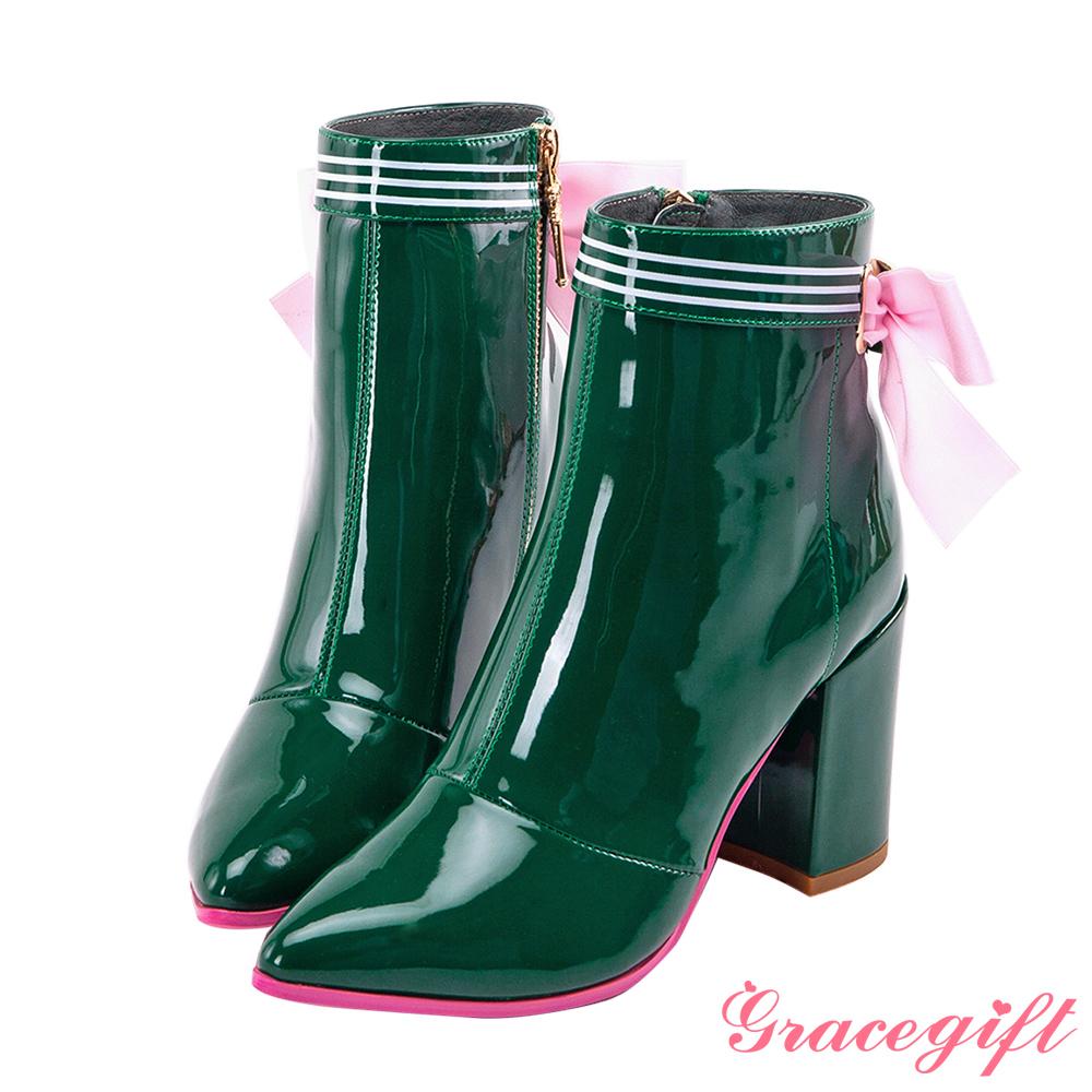Grace gift-美少女戰士漆皮水手蝴蝶結短靴 墨綠