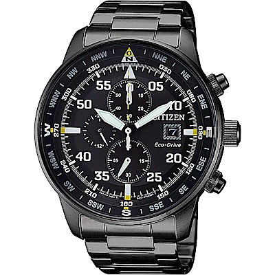 CITIZEN 星辰 光動能飛行家計時手錶-黑/44mm(CA0695-84E)