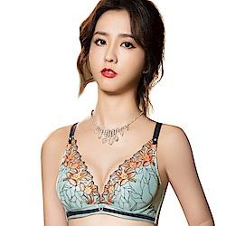思薇爾 花影饗宴系列B-E罩深V蕾絲刺繡包覆內衣(青冰藍)
