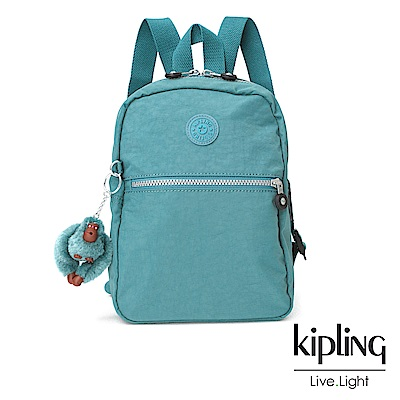 Kipling 湖水綠拉鍊後背包-KAPONO