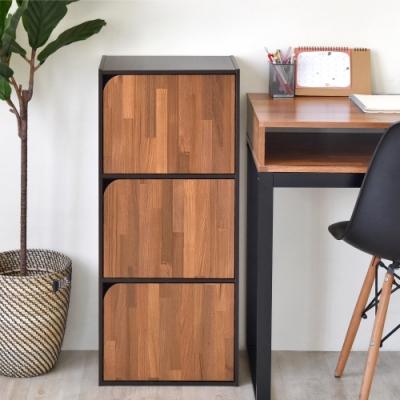 《HOPMA》DIY巧收簡約三門收納櫃/書櫃-寬42X深30X高90cm