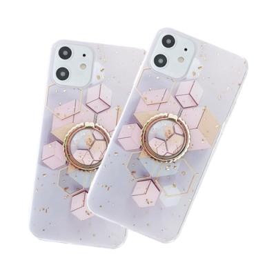 iPhone 12 氣質 幾何 金箔 軟邊 手機殼 四邊 防摔 六角型 附 手機支架 (iPhone12手機殼 iPhone12保護殼 )