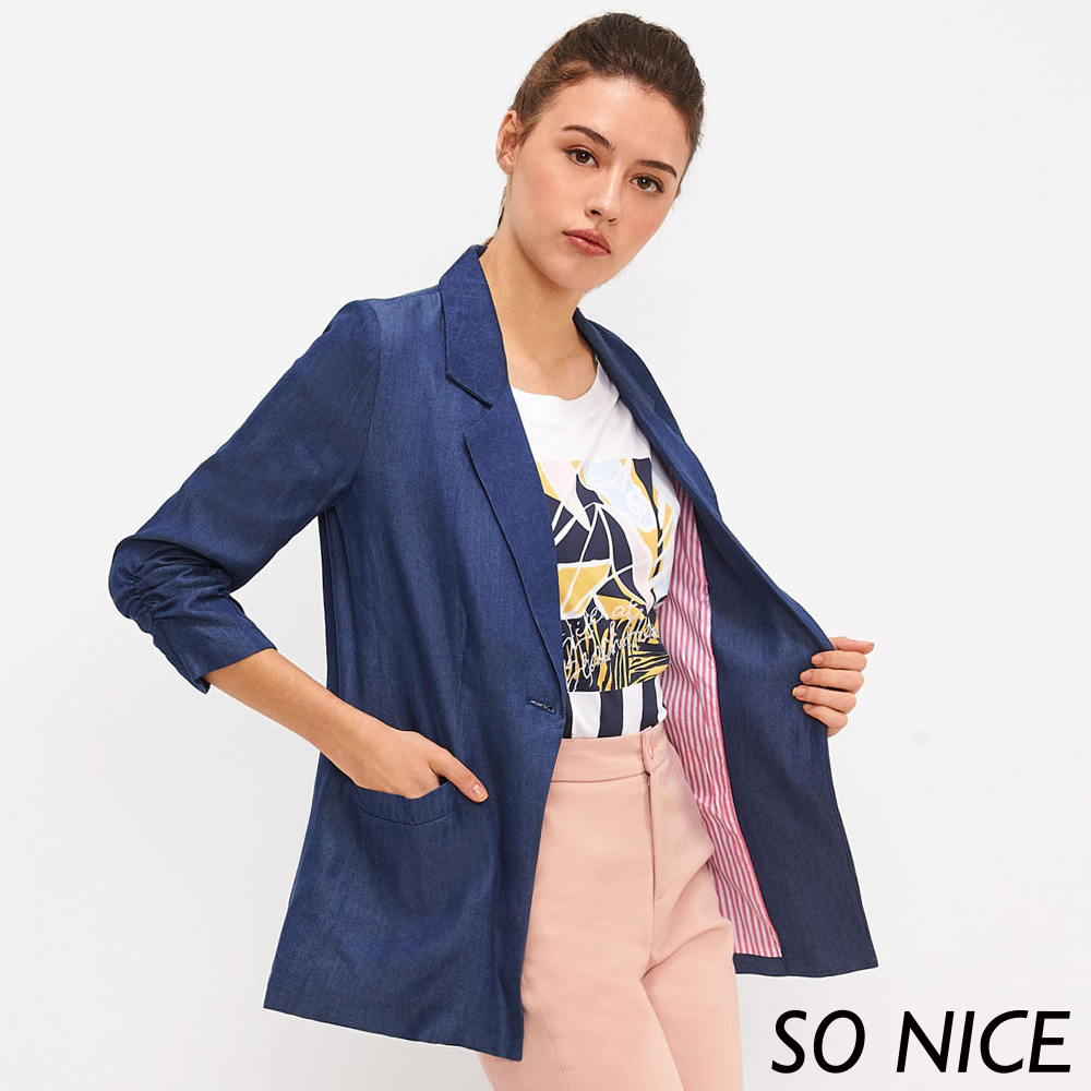 SO NICE都會造型袖牛仔西裝外套