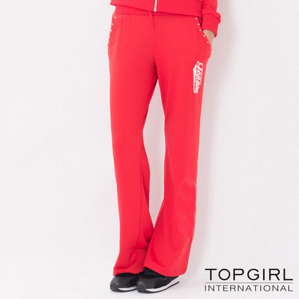 【TOP GIRL】原彩字母POLY針織長褲-紅色系