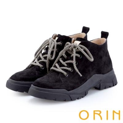 ORIN 潮流同步 真皮高筒綁帶平底休閒鞋-黑色