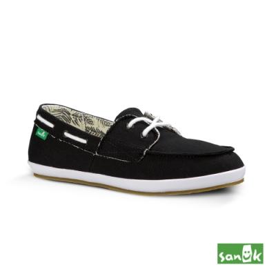 SANUK 女款 US5 內印花樹葉圖騰綁帶休閒鞋(黑色)