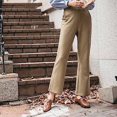 厚面料俐落純色西裝直筒褲-OB大尺碼