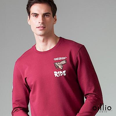 歐洲貴族 oillio 長袖T恤 經典電腦刺繡 立體質感電繡 酒紅色