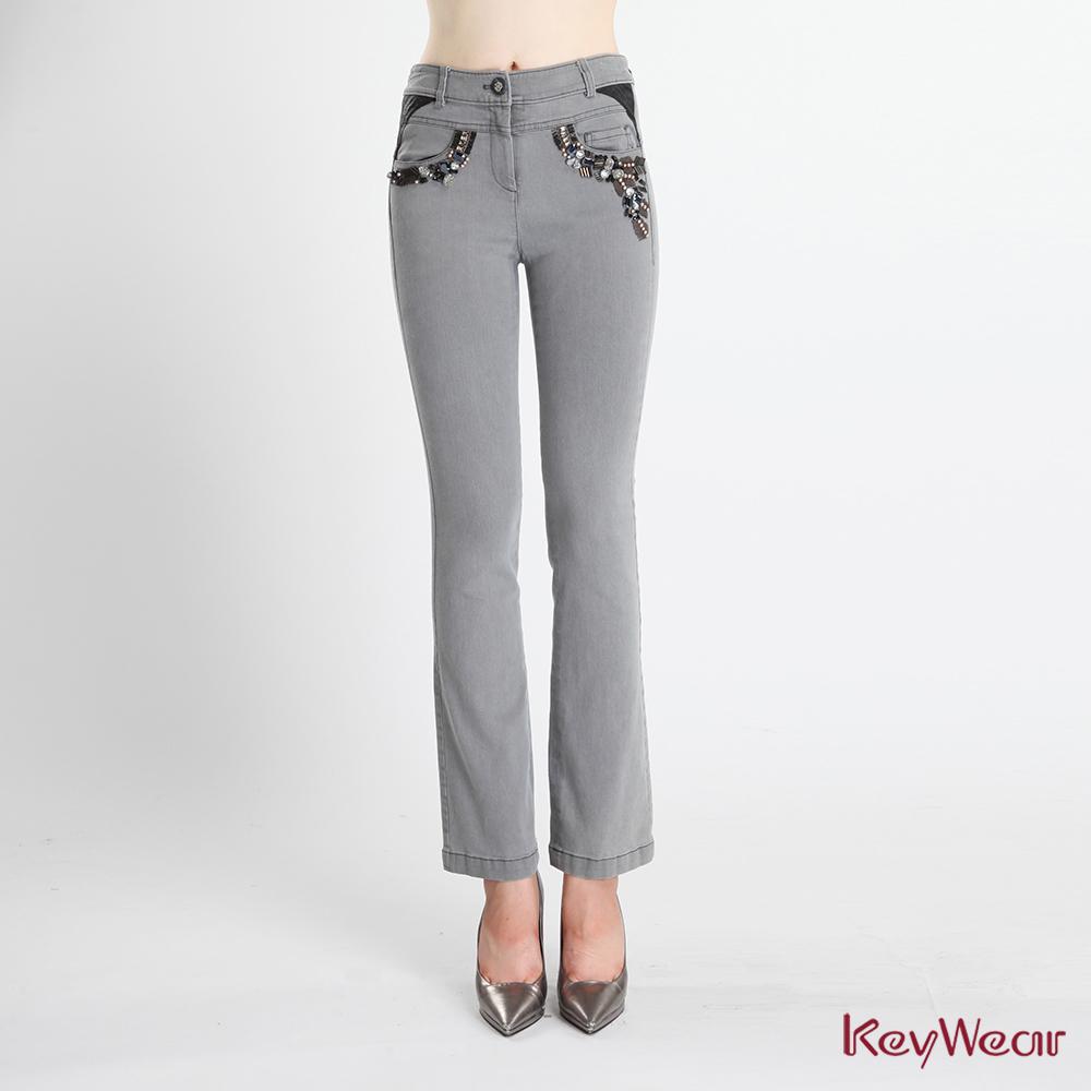 KeyWear 奇威名品    獨特水洗手工縫珠牛仔長褲-灰色