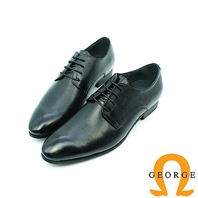 【GEORGE 喬治皮鞋】素面漸層綁帶紳士鞋皮鞋-黑