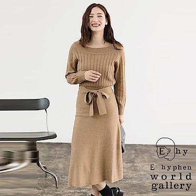 E hyphen 寬羅紋上衣拼接針織連身洋裝