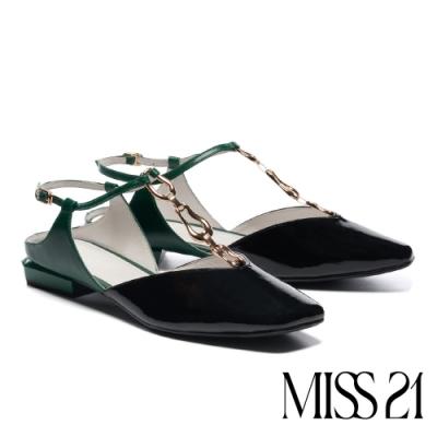 涼鞋 MISS 21 前膽摩登T帶釦設計漆皮低跟涼鞋-黑