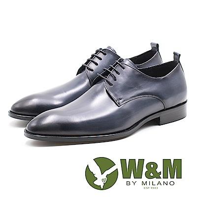 W&M 限量復古質感刷色 男皮鞋-油蠟藍(另有油蠟棕)