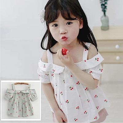 小衣衫童裝    小櫻桃印花吊帶露肩短袖娃娃衫1070430