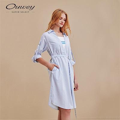 OUWEY歐薇 知性滑料假兩件條紋襯衫洋裝(藍)