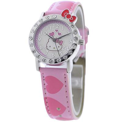 Hello Kitty 愛戀訊息晶鑽腕錶-粉紅-HKFR1163-03A-29mm