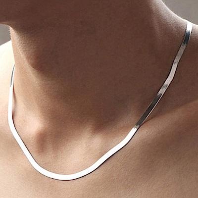 梨花HaNA 中性男女幸福印象簡單扁蛇骨銀項鍊