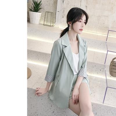 UGIZ-韓系反摺袖口西裝套裝-綠(S-2XL)