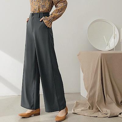 質感純色落地寬褲-OB大尺碼