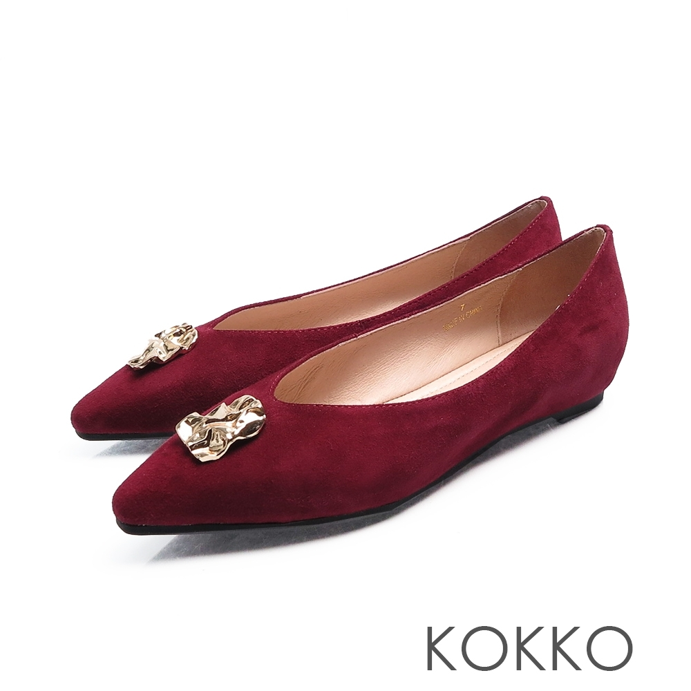 KOKKO - 超軟底方頭內增高平底鞋 - 番茄紅色