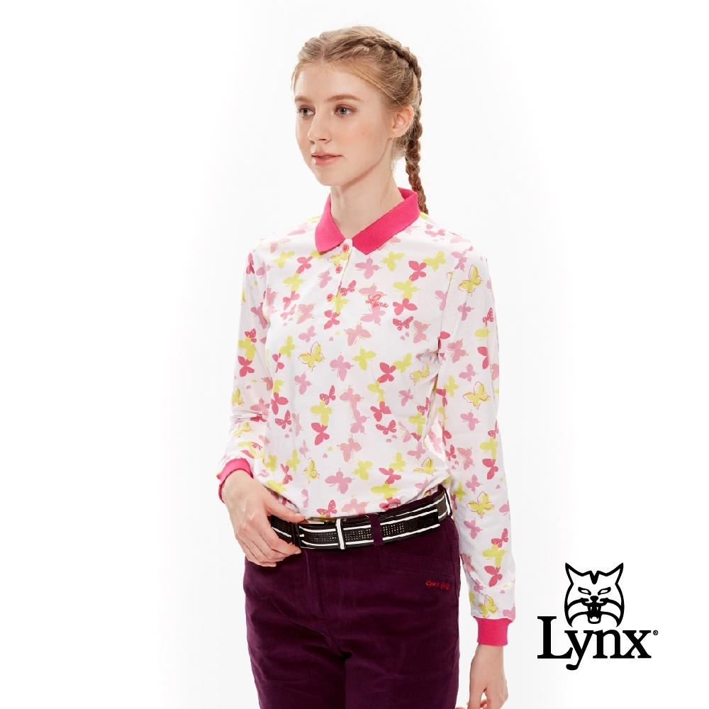 【Lynx Golf】女款絲光棉滿版蝴蝶長袖POLO衫-粉色