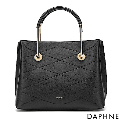 達芙妮DAPHNE-優雅菱格紋拚接金屬手提單肩包-黑色