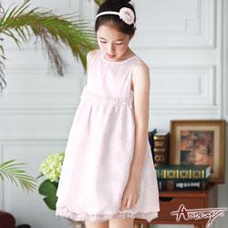 Annys粉嫩緞質拼接透視格網蕾絲洋裝*7118粉