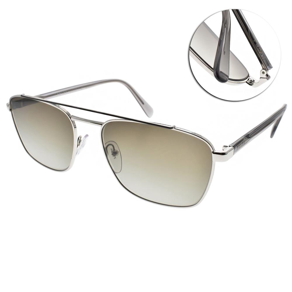 PRADA太陽眼鏡 個性百搭款/銀黑#SPR61U Y7B-5O2