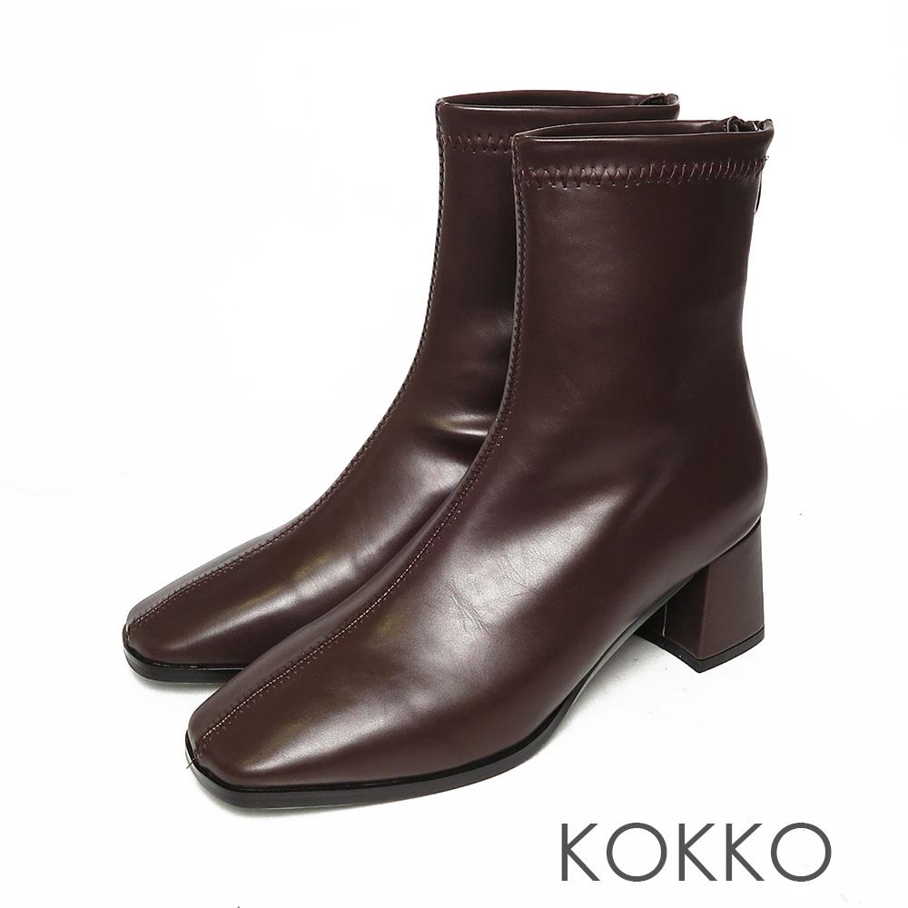 KOKKO激瘦感方頭粗跟短靴咖啡色