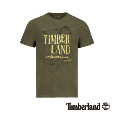 Timberland 男款軍綠色圆領印花短袖T恤|A1W4P