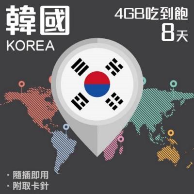【PEKO】韓國上網卡 8日高速4G上網 4GB流量吃到飽 優良品質