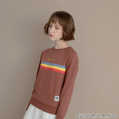 GIORDANO 女裝 Retro Wave復古大學T恤 - 31 黑褐色