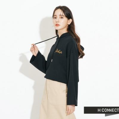 H:CONNECT 韓國品牌 女裝-簡約繡字休閒帽T-黑