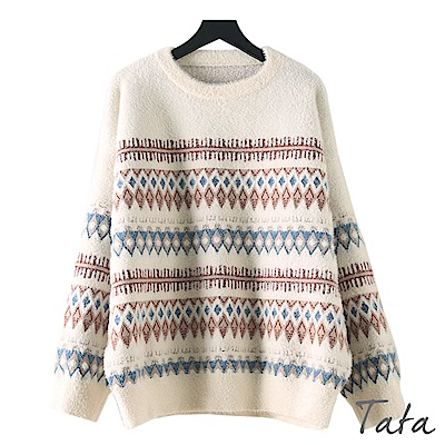馬海毛圖騰條紋針織上衣 共二色 TATA