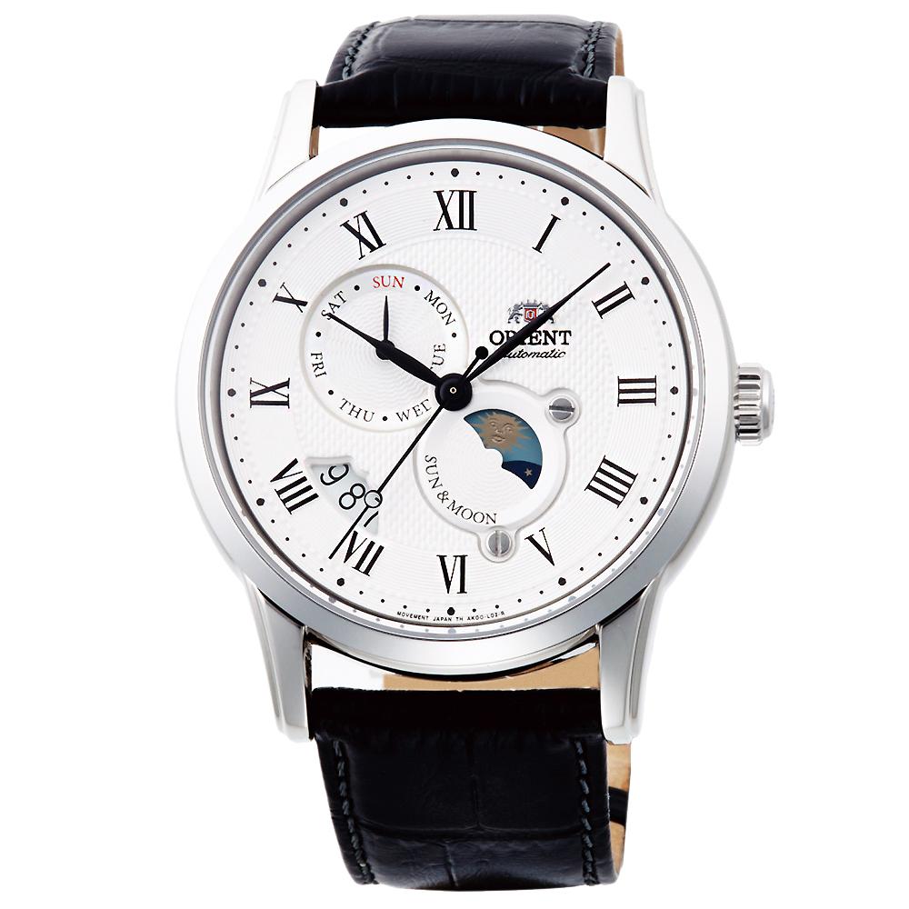 ORIENT東方SUN&MOON日月相真皮機械錶手錶SAK00002S-白X黑/42mm