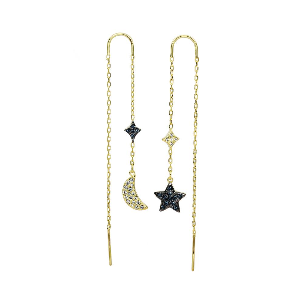 SWAROVSKI 施華洛世奇 Duo Moon璀璨藍水晶月亮星芒金色鏈條 垂墜耳環