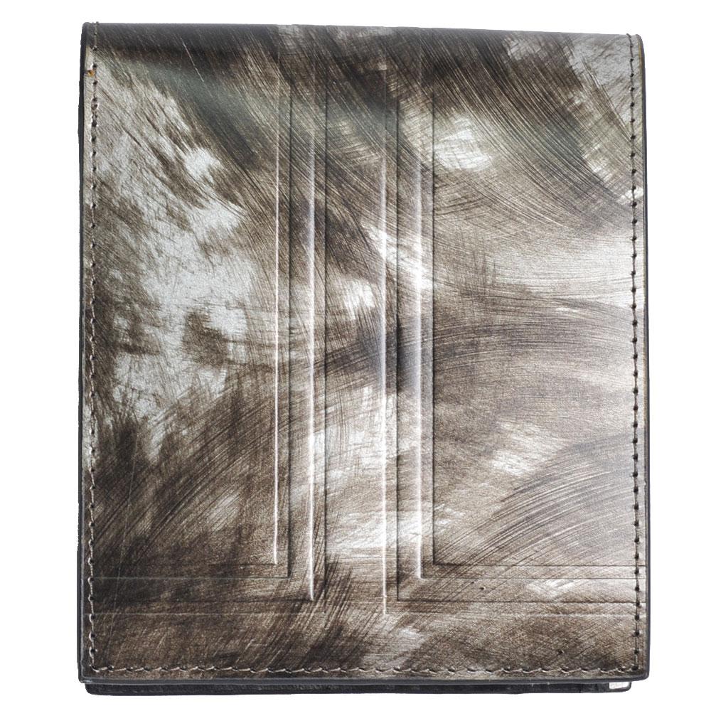 LANVIN 品牌經典大LOGO圖騰復古金屬漆面牛皮對折零錢短夾(復古漆面)