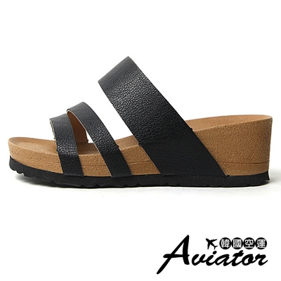 Aviator韓國空運-質感簡約皮革寬帶造型線條楔型涼拖鞋-(黑)預+現